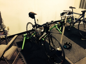 My bike set up in the CompuTrainer facility. I foresee many hours of work in this room!